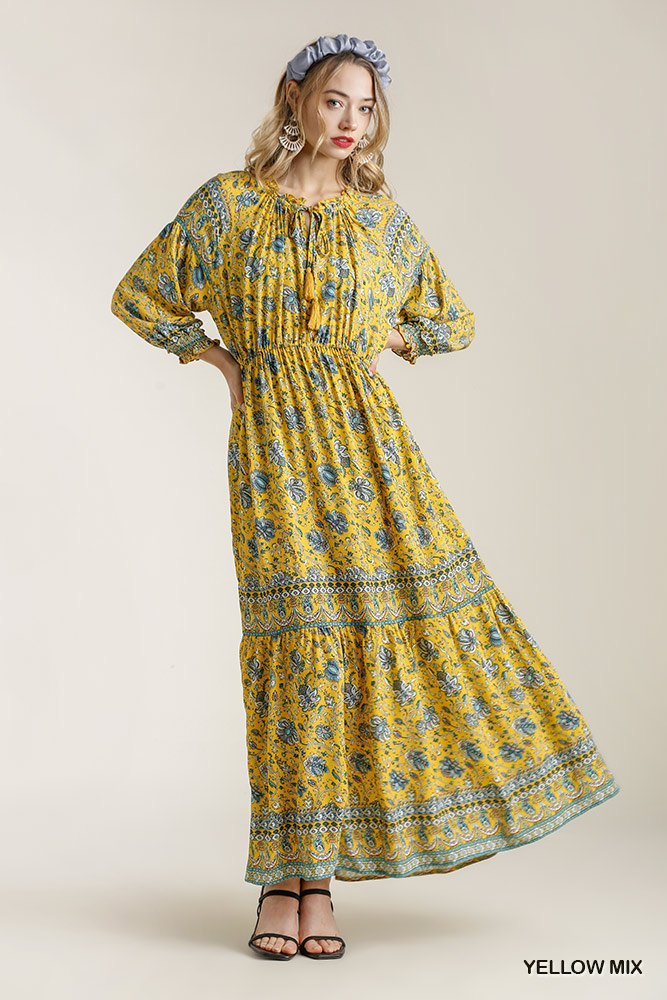 Umgee Yellow Paisley Print Smocked Ruffle Cuff Sleeve Elastic Waist Maxi Dress