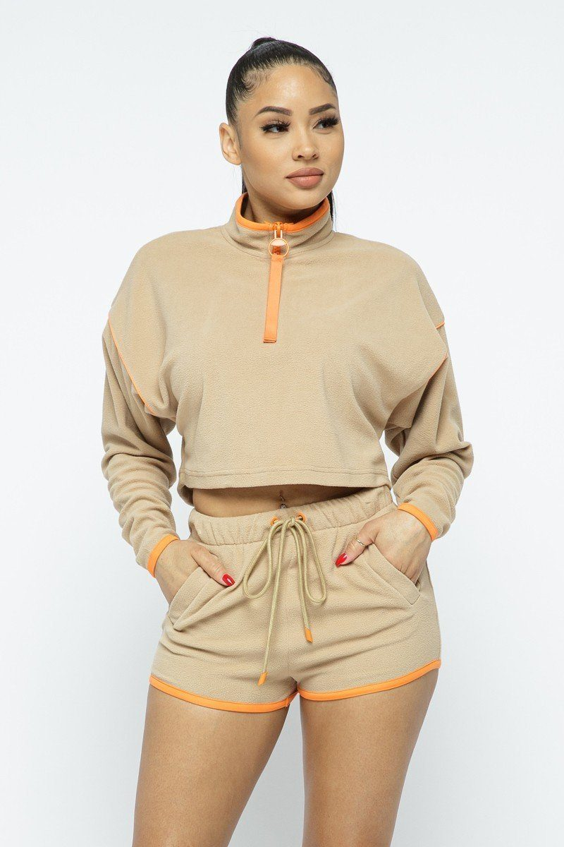 Capsulle Beige Sporty Crop Top Sporty High-waist Shorts Set