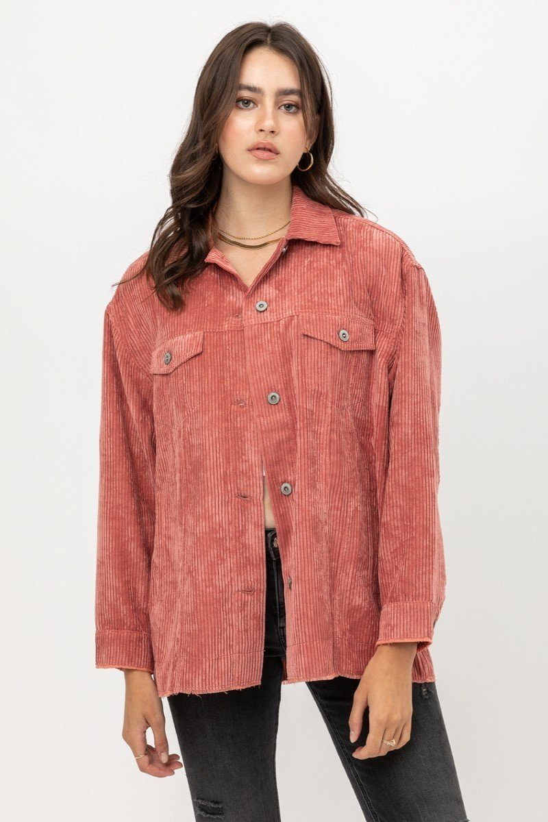 Love Tree Mauve Corduroy Button Down Shirt Jacket