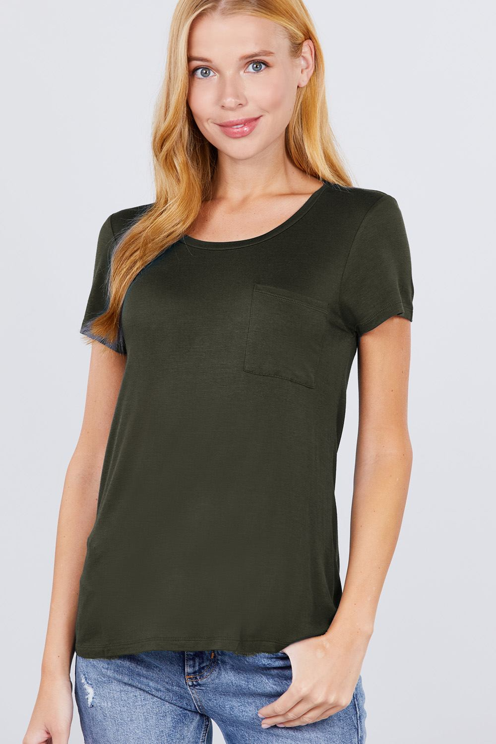 Active Boutique Dark Green Short Sleeve Scoop Neck Top With Pocket