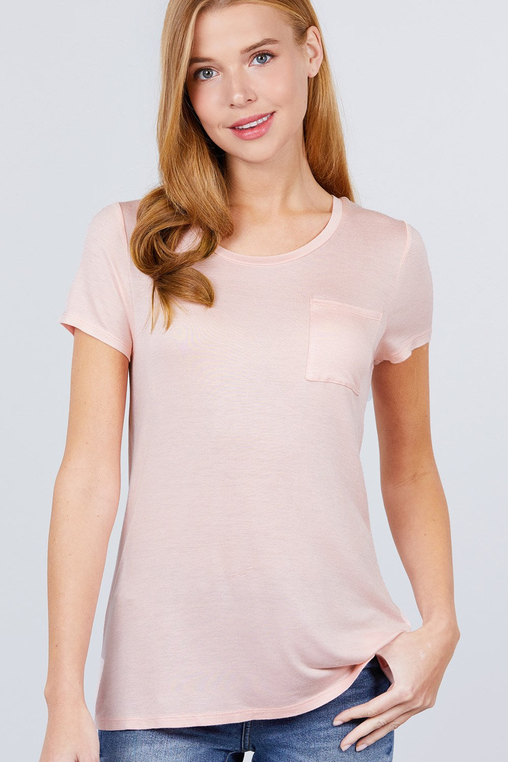 Active Boutique Rose Pink Short Sleeve Scoop Neck Top With Pocket