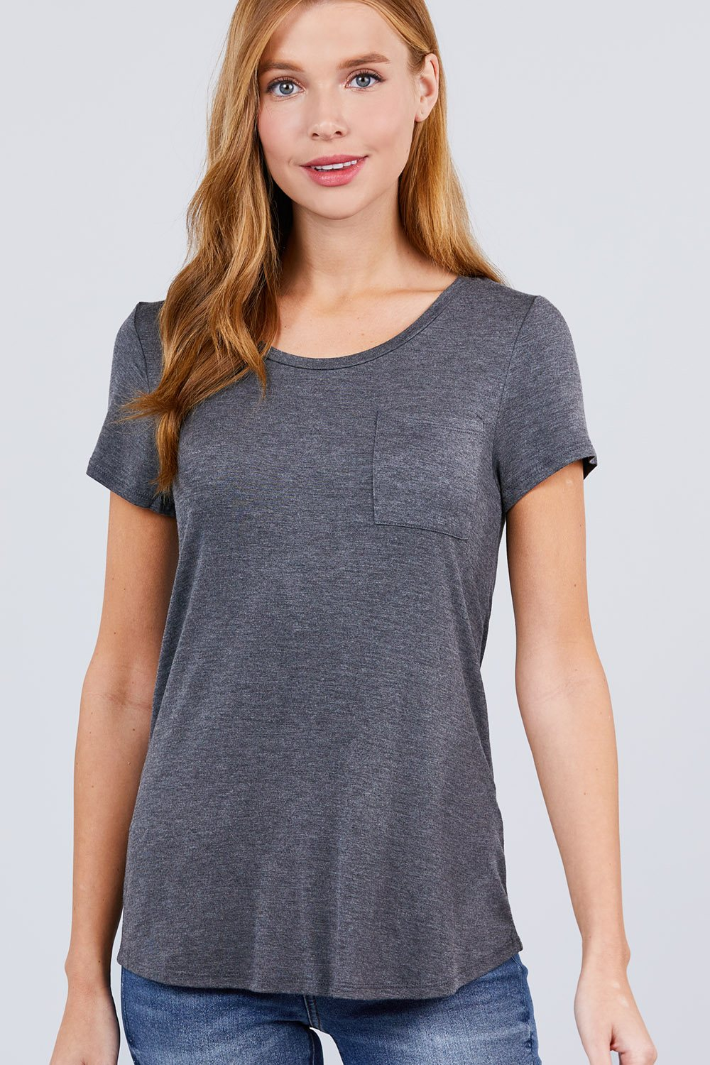 Active Boutique Charcoal Gray Short Sleeve Scoop Neck Top With Pocket