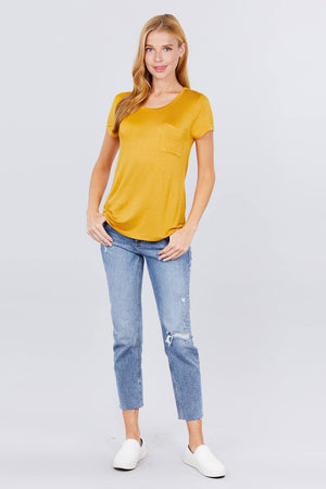 Active Boutique Ruby Mustard Short Sleeve Scoop Neck Top With Pocket