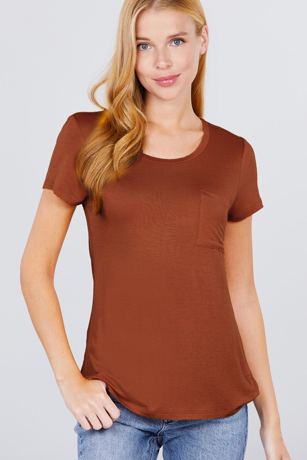 Active Boutique Rust Short Sleeve Scoop Neck Top With Pocket