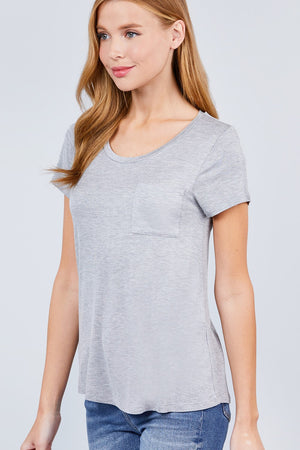 Active Boutique Heather Gray Short Sleeve Scoop Neck Top With Pocket