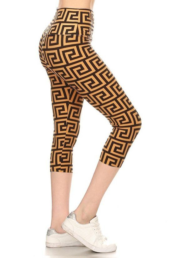 Yoga Style Banded Lined Meander Printed Knit Capri Legging With High Waist.