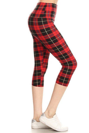 Yoga Style Banded Lined Plaid & Checkered Printed Knit Capri Legging With High Waist