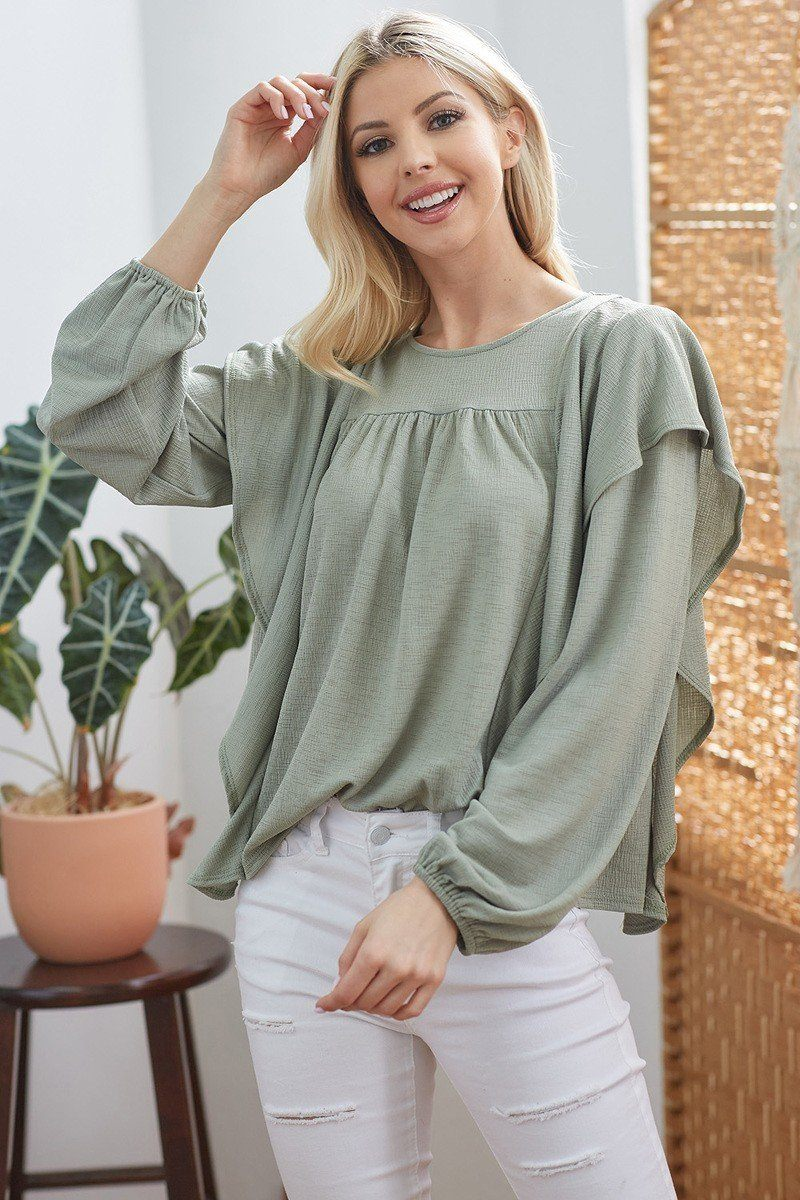 Draped Ruffle Long Sleeve Top