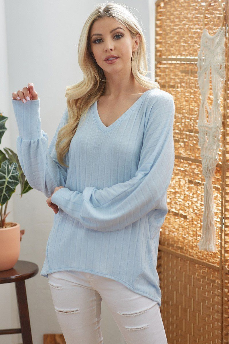 Ribbed V Neck Long Sleeve Top