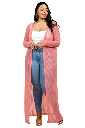 Plus Light Weight Knitted Cardigan