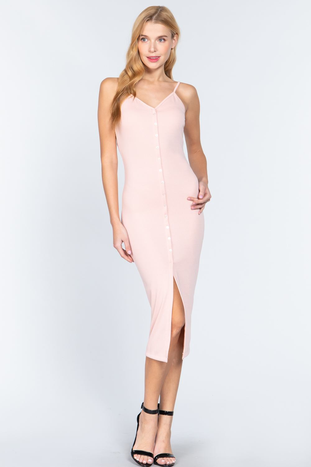Fron Button Slit Rib Cami Midi Dress