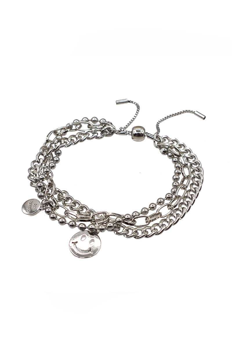 Metal Layered Smile Charm Bracelet