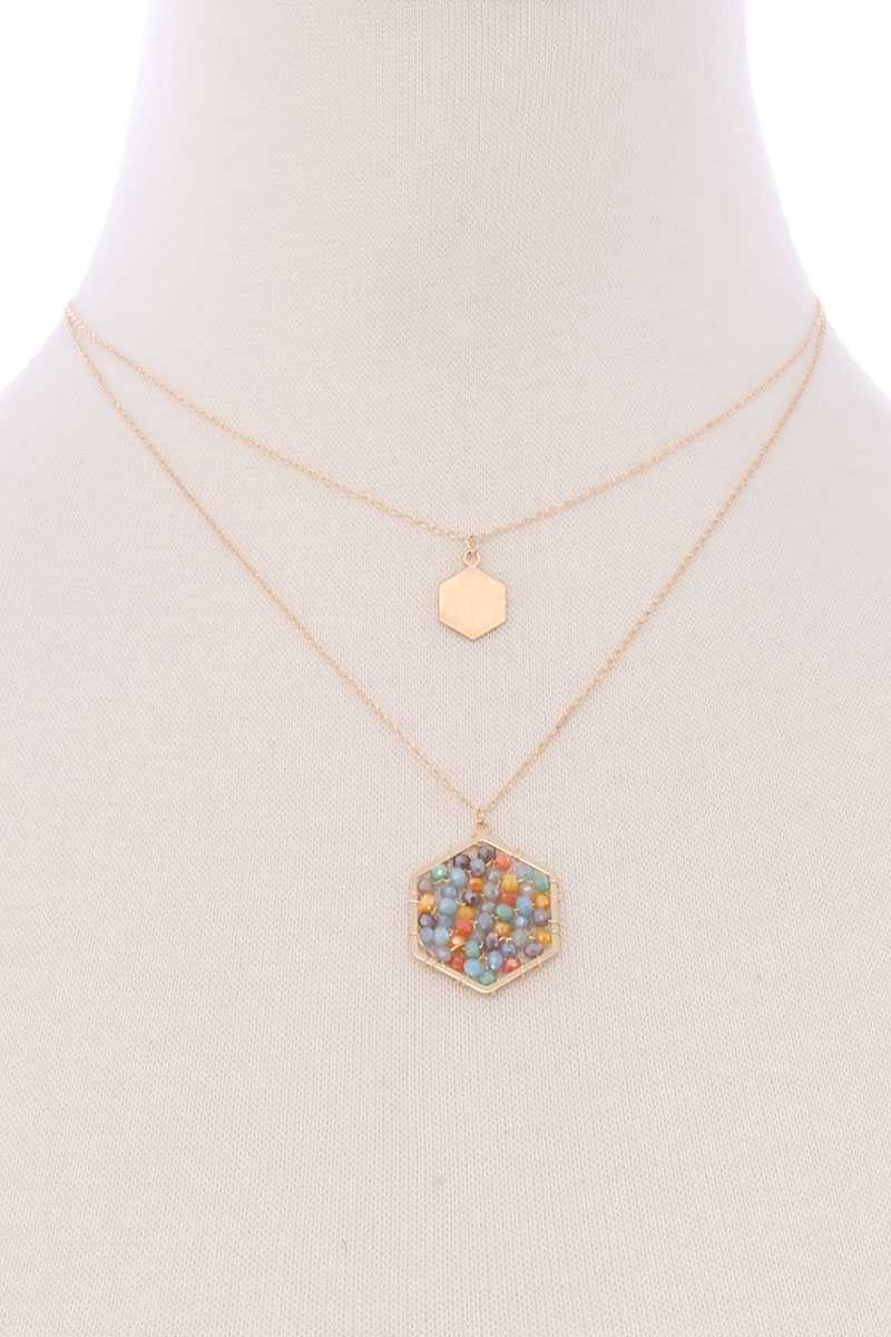 2 Layered Geometric Glass Bead Pendant Necklace