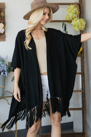 Draped Poncho Cardigan With String Detail