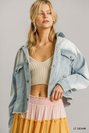 Collar Button Down Denim Jacket With Chest Pockets
