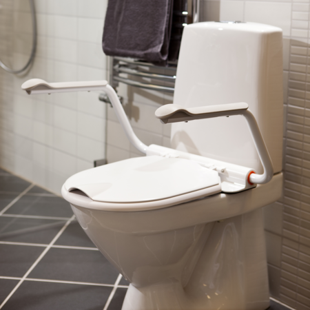 Toilet Seat with Adjustable Armrests for Safety & Support