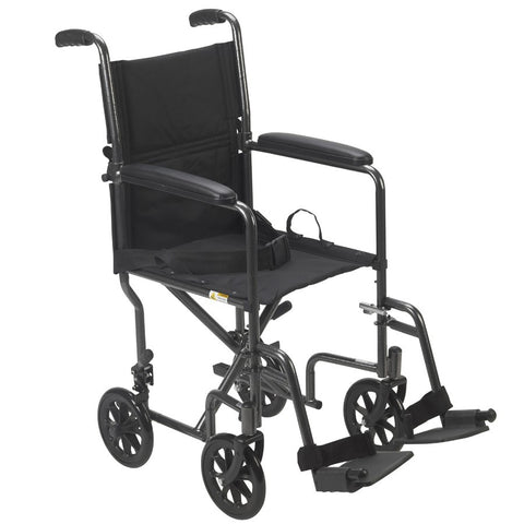 "Lightweight Steel Transport Foldable Wheelchair 17"" & 19"""