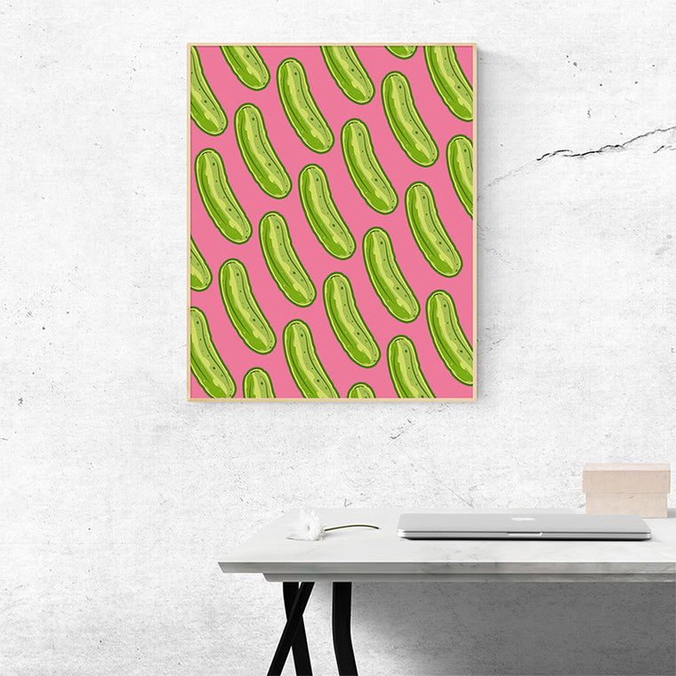 Pickle Shirts - Pop Art Pickles Wall Art - Pink