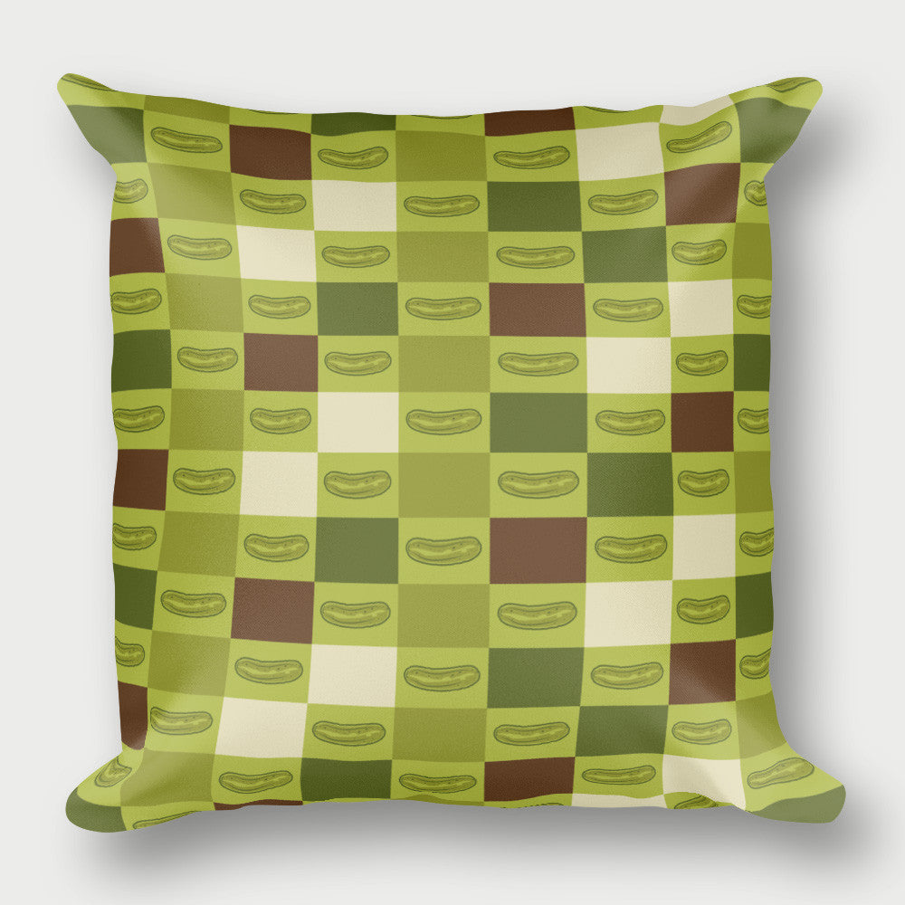 Pickle Shirts - Checkered Pickle Pillow