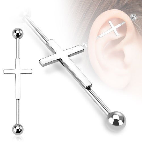 14G Cross Industrial Bar Earring ♥ - Underlying Beauty - 2
