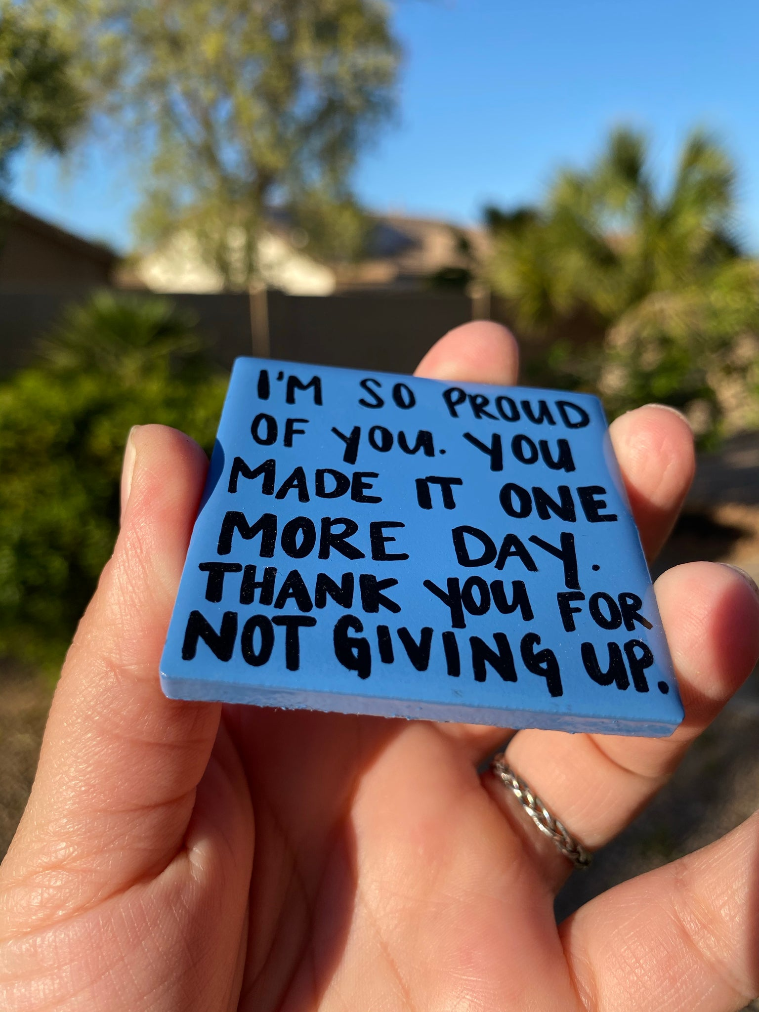 I'm So Proud Of You. You Made It One More Day. Thank You For Not Giving Up. Tile Magnet. Recovery Gift. AA Gift. NA Gift. Encouragement Gift