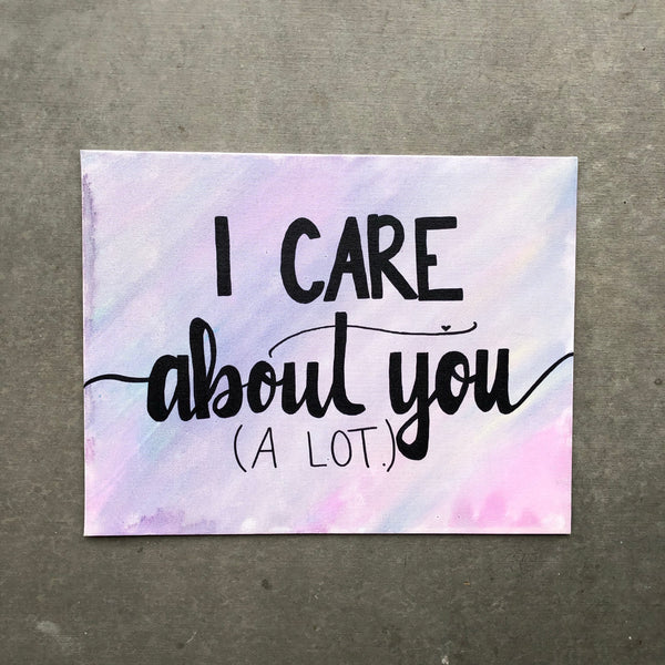 I care about you. (A LOT). Gift idea for someone struggling with an eating disorder.