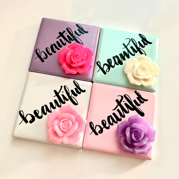 Beautiful Rose Magnet | handmade gift, inspiring and refreshing reminder. Healthy way to start your morning with a smile and feel pretty!