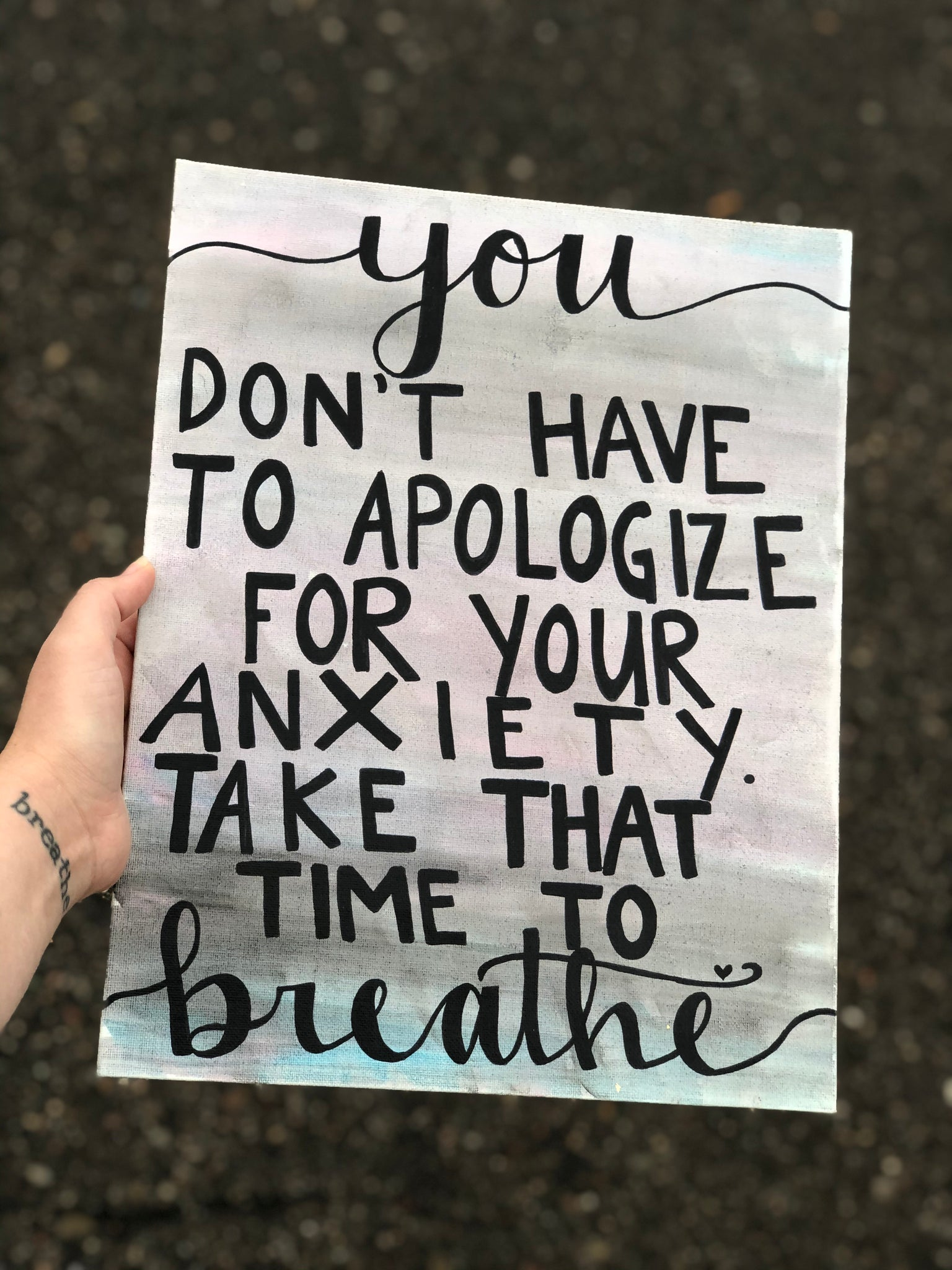 Anxiety. It's not your fault. Don't apologize for how you feel. Calligraphy Bold Print Gift Idea.