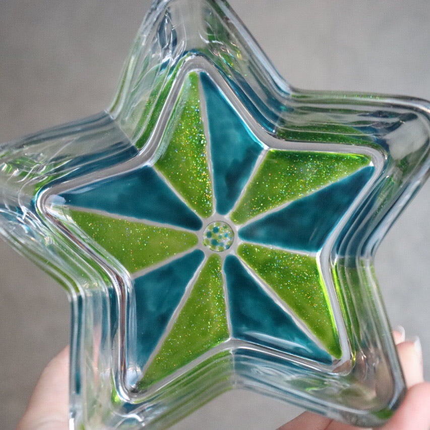 Green Glitter + Blue Star Stained Glass Gift Idea. Christmas Dish, Trinket Dish, Key Dish, Candy Dish, Sun Catcher