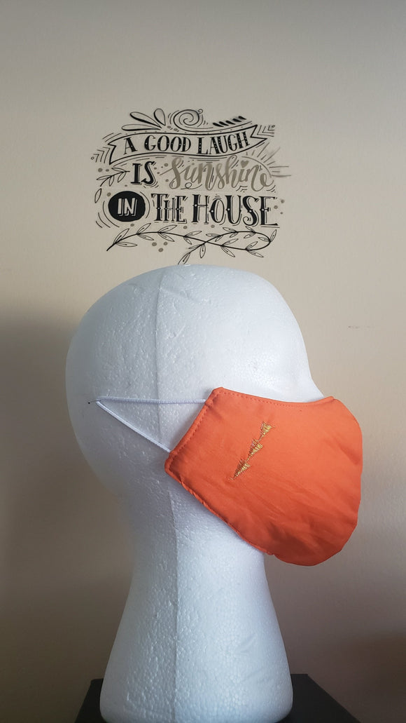 **Filtered Cotton Mask w/embroidery - ORANGE