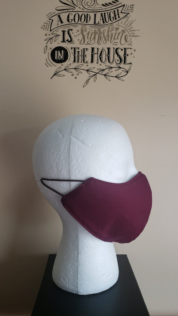 Reversible Filtered Cotton Mask - WINE