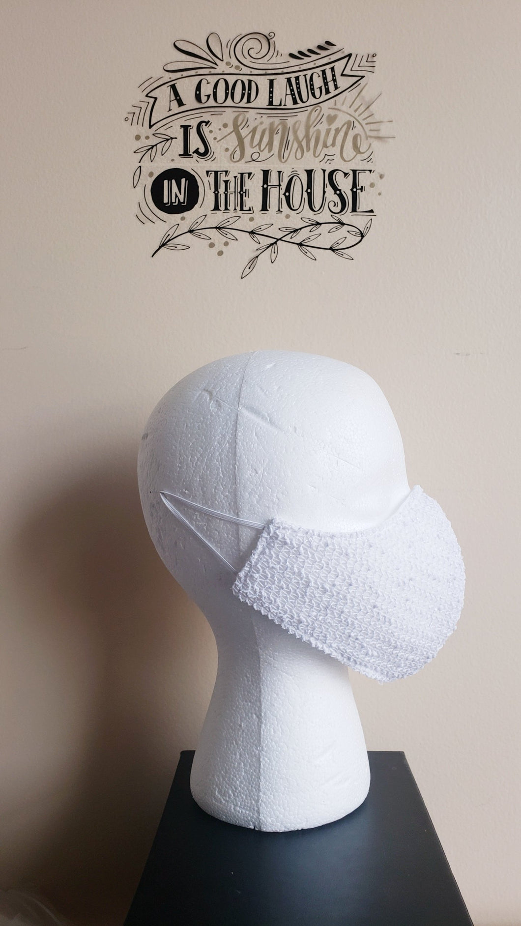 SOLD! Novelty Cotton Knit Mask - WHITE SEQUIN