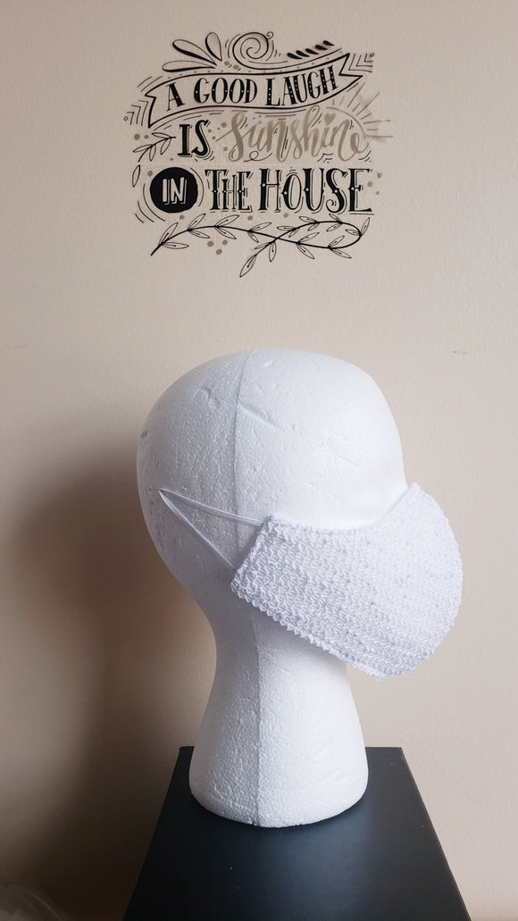 Novelty Cotton Knit Mask - WHITE SEQUIN