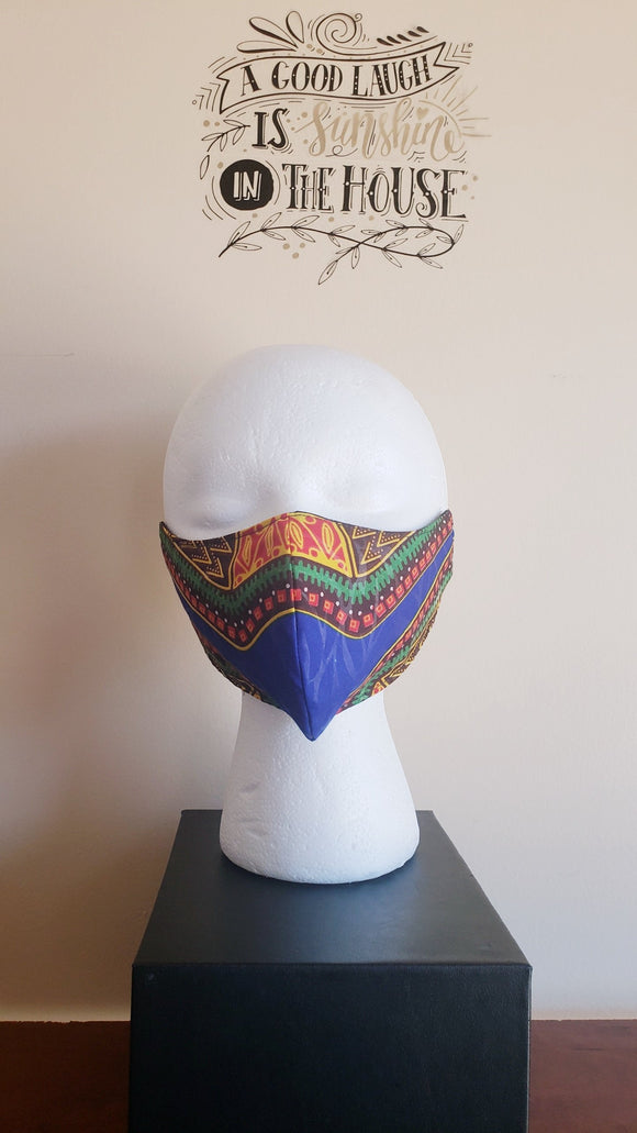 *Filtered Cotton Mask - DashikiBlue
