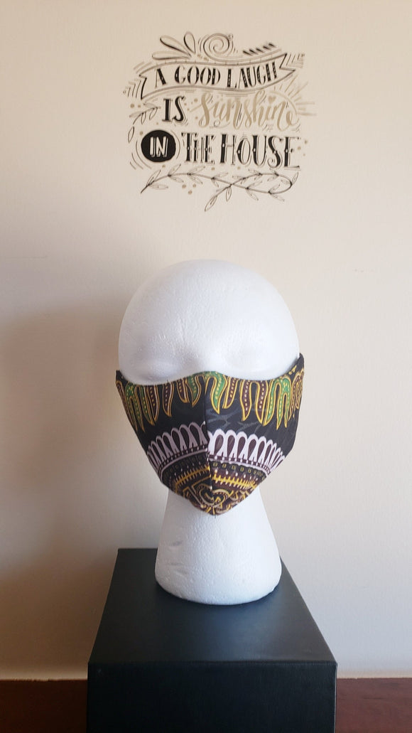 *Filtered Cotton Mask - DashikiBlack