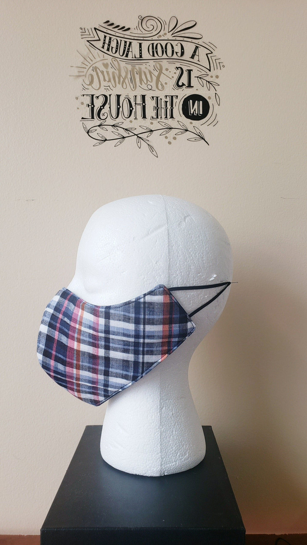 Reversible Filtered Cotton Mask - PLAID/NAVY