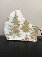 Load image into Gallery viewer, Reversible Filtered 100% Cotton Mask - XMASTREE/GLD