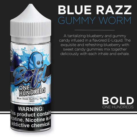 Bold One Hundreds - Blue Razz Gummy Worms 100ml