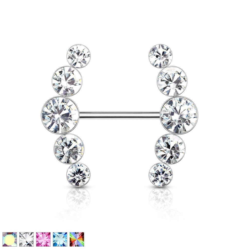 5 Round Crystal Lined Ends Nipple Barbell