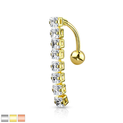 8 Square CZ Top Dangling Belly Ring