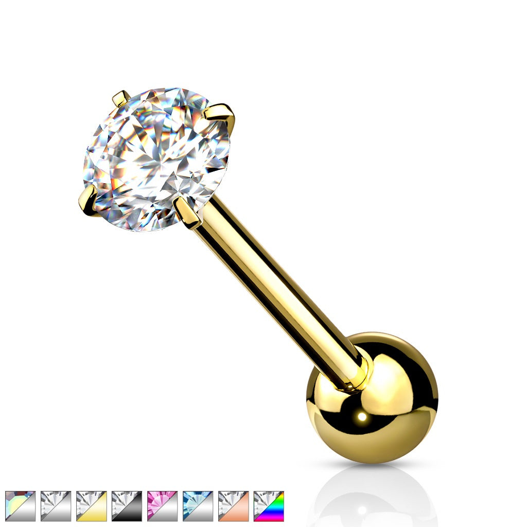 Prong Set CZ Barbell Tongue Ring