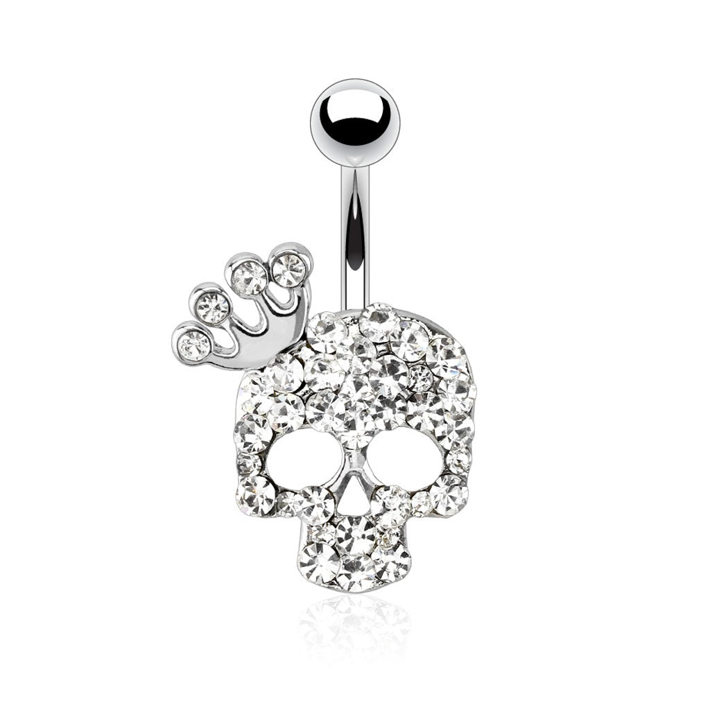 Skull with Crown Navel Ring