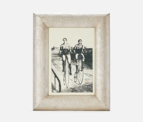 Cardiff Frame - Warm Silver Faux Linen