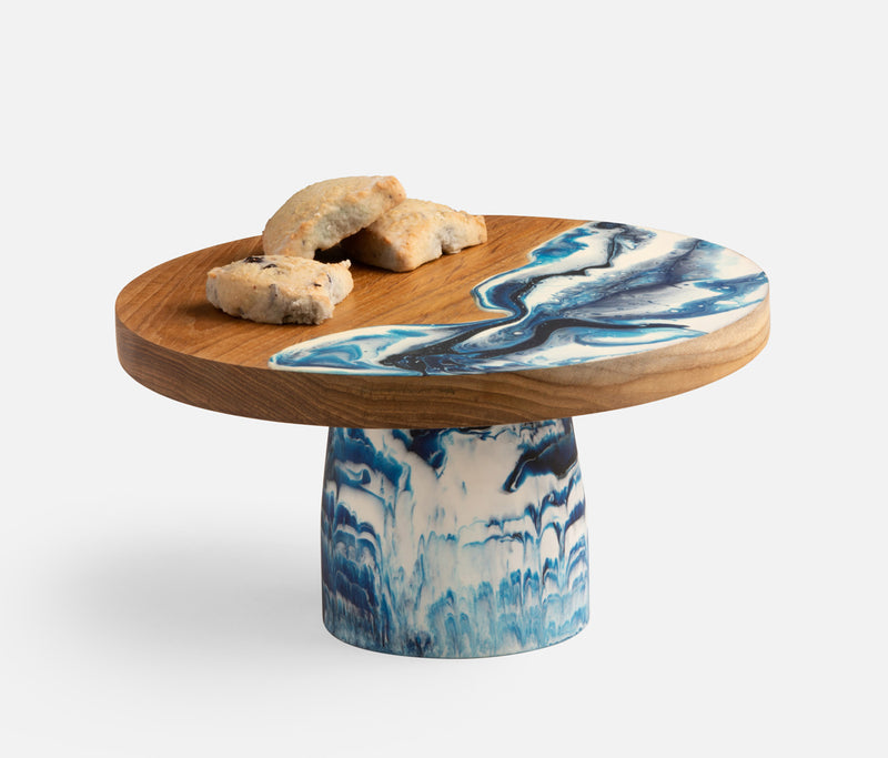 Austin Blue Swirled Cake Stand Available late September