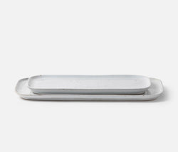 Marcus Rectangular Serving Platters - White Salt