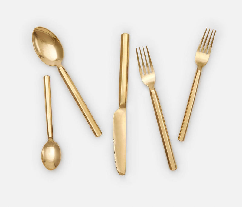 Roland Flatware 5-Piece Set - Polished Gold