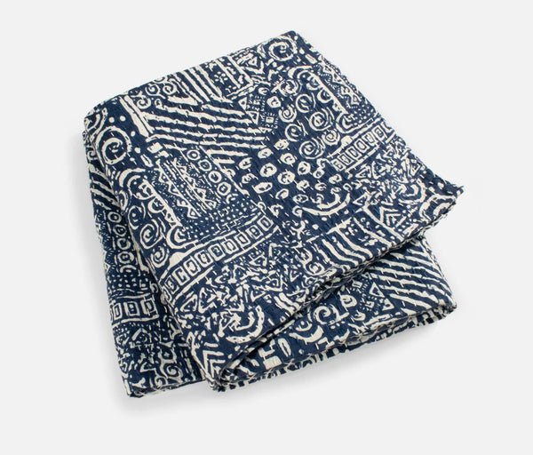 Kantha Cotton Quilt Throw (Blue)