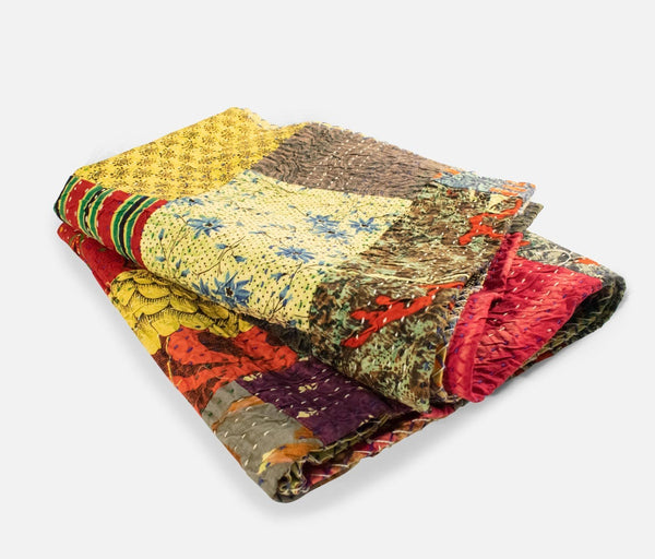 Kantha Cotton Quilt Throw (Green)