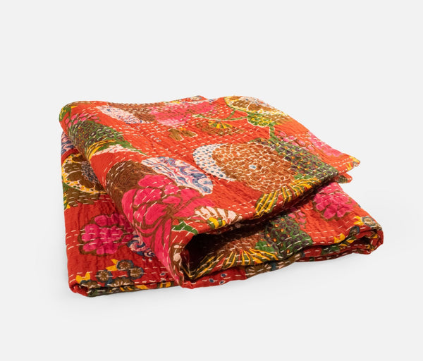 Kantha Cotton Quilt Throw (Red)
