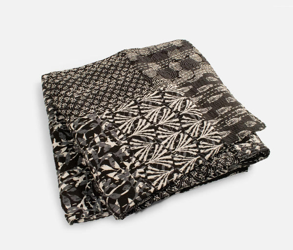 Kantha Cotton Quilt - Dark